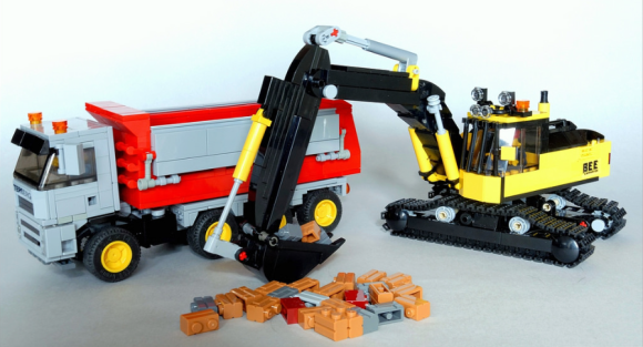 Lego Excavator and Tipper Truck