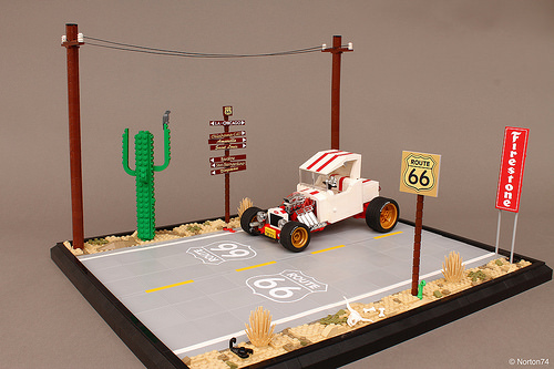 Lego Ford Model-T Hot Rod Route 66