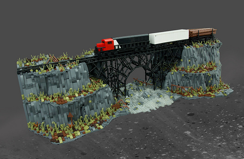 Lego Microscale Train Bridge