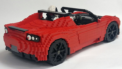 Lego Tesla Roadster in Space